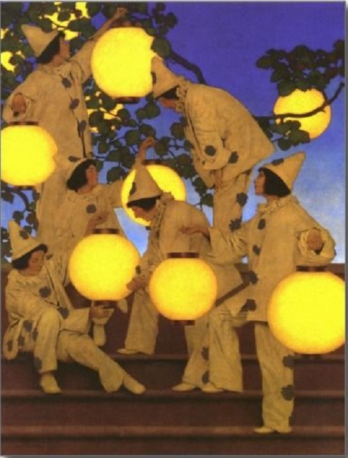 A postcard with the oil painting by Maxfield Parrish (1870-1966) entitled, Lantern Bearers (1908). He was an American painter and illustrator مکسفیلد پریش