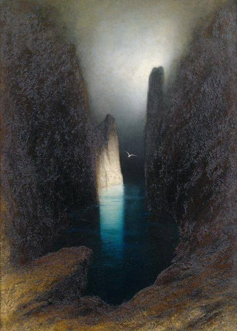 Capri cliff line by moonlight | Karl Wilhelm Diefenbach | کارل ویلهلم دیفنباخ
