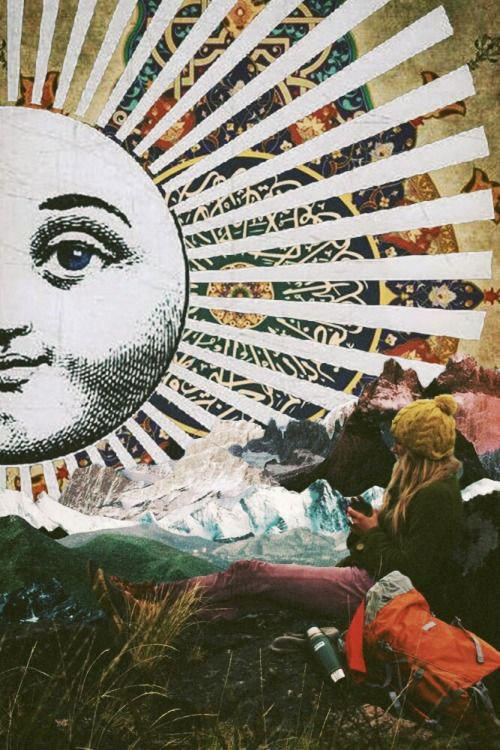 Her The Sun by Ayham Jabr Surreal Mixed Media Collage Art کلاژ اثر آیهام جبر