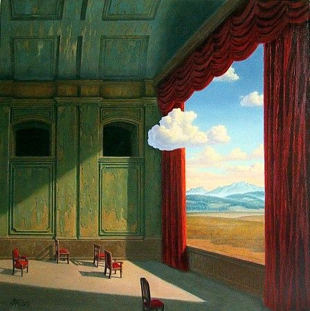 Marcin Kołpanowicz - THEATRE OF THE WORLD I, oil on canvas, 70 x 70 cm, 1997