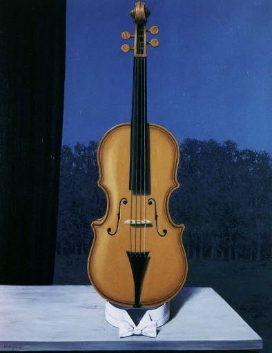 The Violin (A Little of the Bandits' Soul), 1960, oil on canvas, private collection | René Magritte  | رنه ماگریت | سورئالیسم