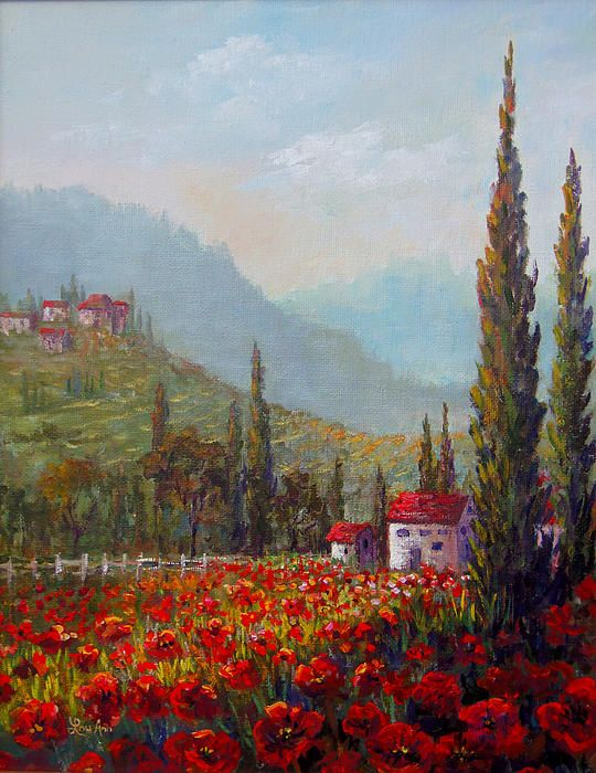 Title Inspired By Tuscany | Lou Ann Bagnall | لو آن باگنال |Medium Painting - Acrylic On Canvas | نقاشی رنگ روغن