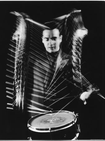 Drummer Gene Krupa Performing at Gjon Mili's Studio Premium Photographic Print by Gjon Mili